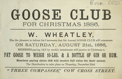 Advert for W Wheatley's annual Goose Club